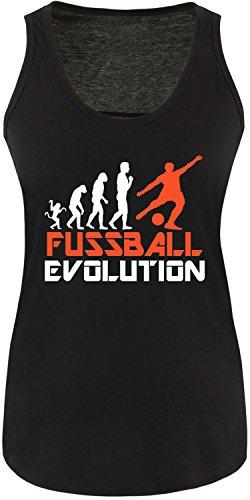 EZYshirt® Fussball Evolution Damen Tanktop Schwarz/Weiss/Orange