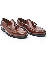 kalra Creations Hombre tradicional hecha a mano indian Loafer–Zapatos de piel, color Negro, talla 43.5 EU