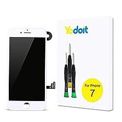 Yodoit Ersatz für LCD Touchscreen Digitizer Display für iPhone 7 Vormontiert mit Hörmuschel, Frontkamera& Näherungssensor Reparaturset KomplettErsatzbildschirm mit Werkzeuge (Weiß)