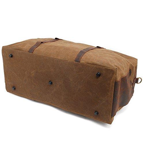 5 ALL Vintage Canvas Leder Unisex Wasserdicht Groß 65 Liter Laptopfach Reisetasche Weekender Handgepäck (Blau) Braun