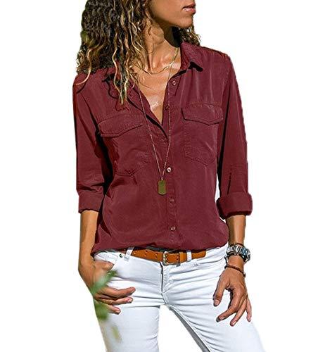 Moceal Bluse Damen Langarm Revers Kragen Hemdbluse V Ausschnitt Langarmshirts Blusen Einfarbig Business mit Knopfleiste Hemd Oberteile Elegant Herbst und Mode Sommer T-Shirt Top (XXXXL, Weinrot)