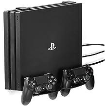 GameVspaceDuo soporte vertical 3-en-1 para PS4, Slim y Pro con ventiladores de refrigeración y espacio para dos controller