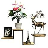 FFF-Shelf Wandregal Massivholz Ein-Wort-Partition Blumenständer Dekorative Rahmen Bücherregal Retro Eisen Kunst Display-Ständer