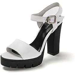 Eine Bande von schwere Schuhe/High Heel Sandalen/Wasserdichte Lederschuhe-weiß Fußlänge=23.8CM(9.4Inch)