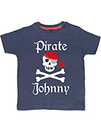 5-6 years NAVY PERSONALISED Children's T-Shirt 'PIRATE SKULL AND CROSS BONES' with White, Red & Silver Print