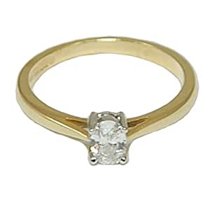 Diamond Ring Oval Solitaire Engagement 18ct Gold 0.31ct Size P 1/2