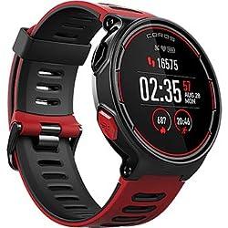 Reloj deportivo GPS Coros PACE con monitorización de frecuencia cardíaca en la muñeca | Incluye funciones de correr, ciclismo, natación y triatlón además de altímetro/barométrico (Rojo)