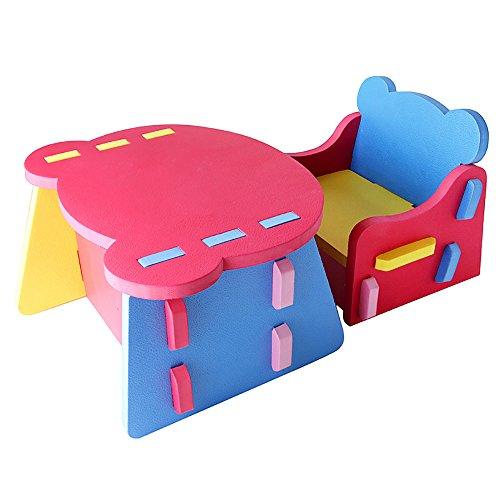 zusammensetzbare kinderm bel tisch und stuhl aus buntem weichem eva schaum rot blau gelb. Black Bedroom Furniture Sets. Home Design Ideas