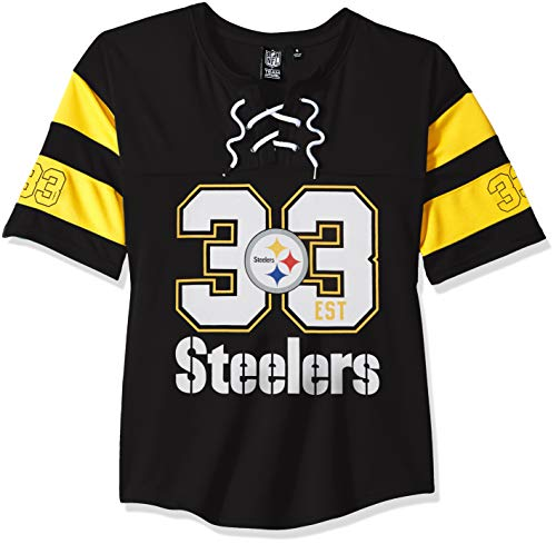 41e0c89a562 Icer Brands NFL Pittsburgh Steelers Women's Hockey Jersey T-Shirt Mesh Lace  Tee Shirt,