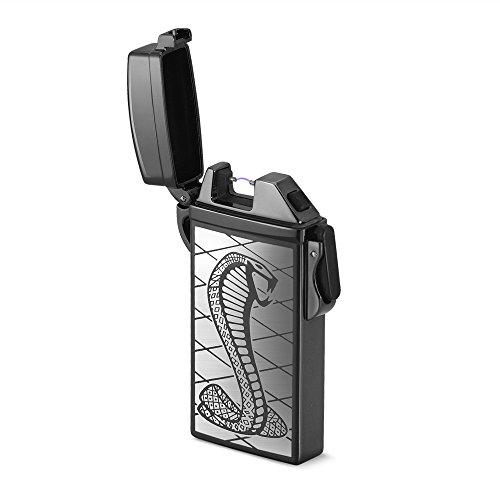 USB Arc Feuerzeuge wiederaufladbar wasserdicht Flammenlose Elektrische Zigarette Plasma Arc Feuerzeug pantheraa, Snake/Silver
