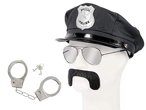 Set di Travestimento da Poliziotto | Nero | KV-125 | 4 Pezzi | Cappello, Occhiali da Sole, Baffi, Manette con Chiavi | per Carnevale | Halloween | Festa a Tema | Adulti | Uomo | Donna