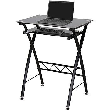 Miadomodo petit bureau d 39 ordinateur table informatique meuble pc en verre tremp et acier - Meuble informatique en verre ...