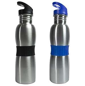 Polo Lifetime Stainless Steel Water Bottle Set,750 ml, Set of 2, Black & Blue
