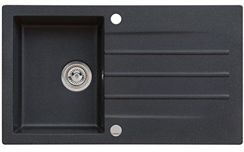 Axigran Granitspüle Mojito 100 Küchenspüle Einbauspüle Spülbecken Farbe Axis Schwarz 50er Unterschrank Spülbecken Siphon, Exzenterbedienung, Ausschnittschablone 86x50 cm