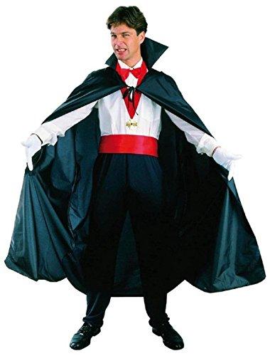 te Umhang für Kostüm - Maskerade - Karneval - Halloween - Vampir - Dracula - Dämmerung - Gürtel und Medaille - Schwarze Farbe - Erwachsene - Unisex - Frau - Mann - Jungen ()
