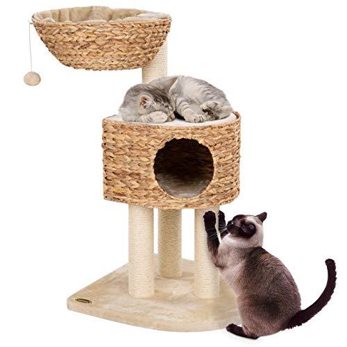 Happypet® Kratzbaum für Katzen BL3-2 +mittelgroß 96 cm +extra große Liegemulde +geflochtene Korb-Höhle +Kletterbaum Katzenbaum Banana-Leaf +stabile 9cm Säulen mit Natur-Sisal, BEIGE