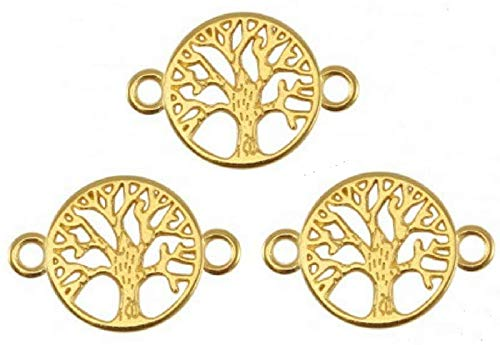 Sadingo 3X DQ Metall Schmuckverbinder, Anhänger Lebensbaum - 22 x 15 mm - Zamak - Farbe wählbar - DIY Schmuck basteln, Auswahl:Gold