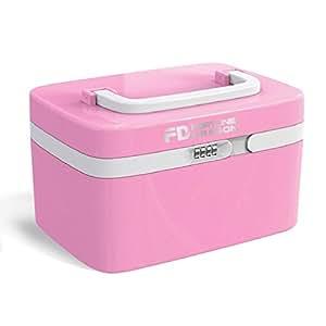 Scatola cosmetica, ABS Storage Box viaggi Make Up Box con separato 7 scomparti-rosa
