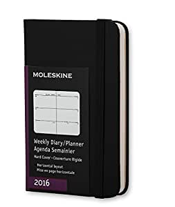 Moleskine 2016 Agenda hebdomadaire, Horizontal, 12 mois, Extra Small, Noir, Couverture rigide (7 x 10,8cm)