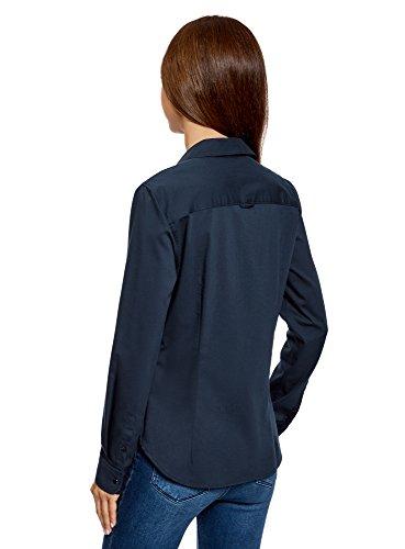 oodji Ultra Femme Chemise Basique avec UNE Poche Plaquée Bleu (7949B)