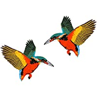 Patch Aufnäher zwei Schwalben Vögel mit Pailletten Flicken DIY Rockabilly neu