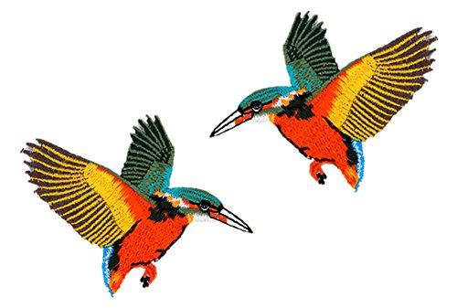 Blue Vessel 2 pcs Vogel Pailletten Bestickt Nähen Bügeln auf Patch Abzeichen Stoff Applique Lace Trim (Lace Trim Jean)