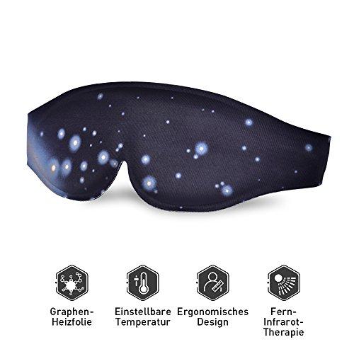 Schlafmaske Augenmaske warm Augenpflege Premium Schlafbrille Beheizbar Schlafbrille 3 Temperatur 3D Graphen Heizungstherapie USB Infrarot Therapie -