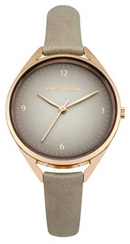Karen Millen Women's Quartz Watch with Grey Dial Analogue Display and Grey Leather Strap KM130ERG