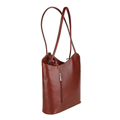 Chicca Borse Shoulder Bag Borsa da Donna a Spalla in Vera Pelle Made in Italy 28x30x9 Cm Marrone