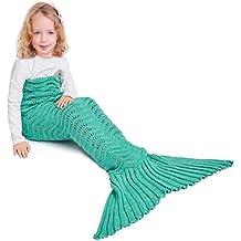 Manta de Cola de Sirena para Niños,Sirena de Punto con Cola Saco de Dormir