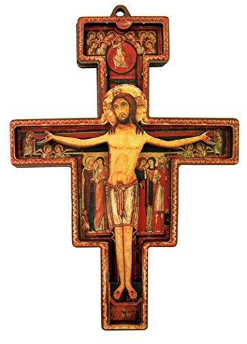 Holz Kreuz der Patron Saint Francis Assisi San Damiano Kruzifix, 31/10,2cm