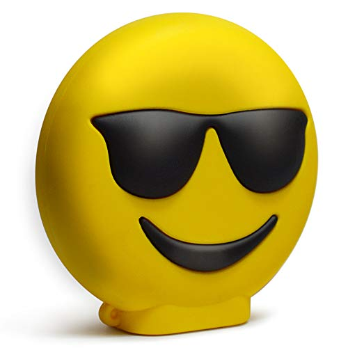 KawKaw Emoji-Powerbank mit 8800 mAh und 2X USB-Anschluss - Viele Motive wie lustige Smileys & süße Emojis - Geschenkidee witzig & inovativ - Kuss, Grinsen, Zwinkern, Zunge, Herzen, Brille (Brille)