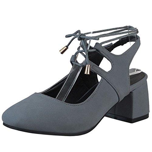 TAOFFEN Femmes Confort Talon Bloc Bout Carre Sandales Escarpins Lacets Grey