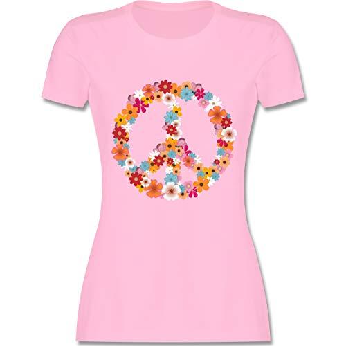 Statement Shirts - Peace Flower Power - M - Rosa - L191 - Damen Tshirt und Frauen T-Shirt