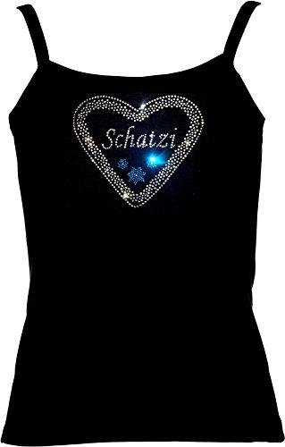 elegantes Shirt Oktoberfest Damen T-Shirt Wiesn Lebkuchenherz mit Schriftzug Schatzi Strass Rot