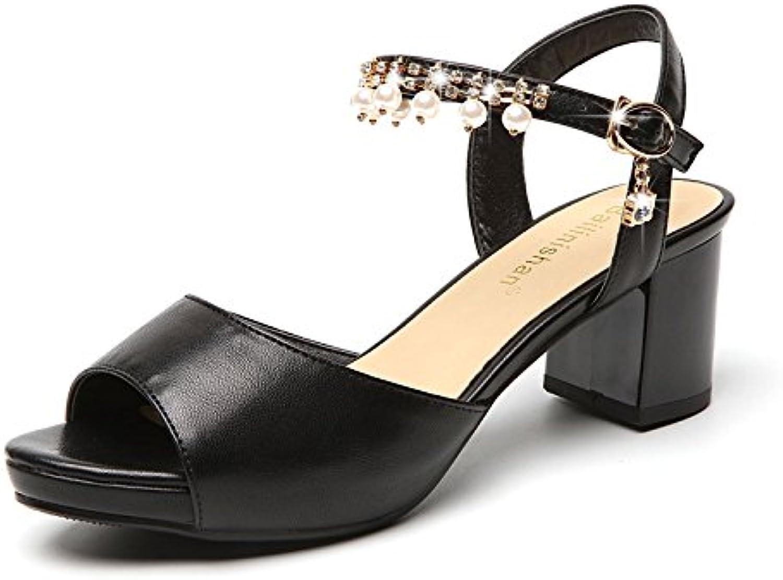 YLLXZ Zapatos de mujer Primavera y verano Sandalias de tacón alto Finas con puntera abierta Estable sexy Tacones... -