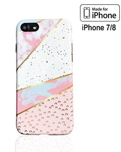 iPhone 7/8 Fall Rosa Marmor Chic Stil Muster - Multicolor Mode, Design, TPU Anti Scratch Dünn Ultra Slim Tropfen Schutz, Klar Kleine Fall für Mädchen Frauen, Teens 4,7 casetection 2018