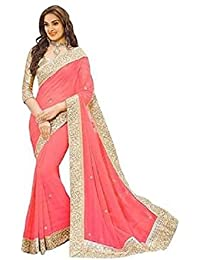 Online HUB Women's Georgette Border Work Saree With Blouse Piece - ONLINEHUBPICHPATTA7_Peach_Free Size