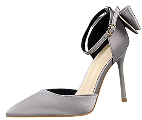 Bow Ankle Strap Sandals High Heels Shoes UK 7 Grey