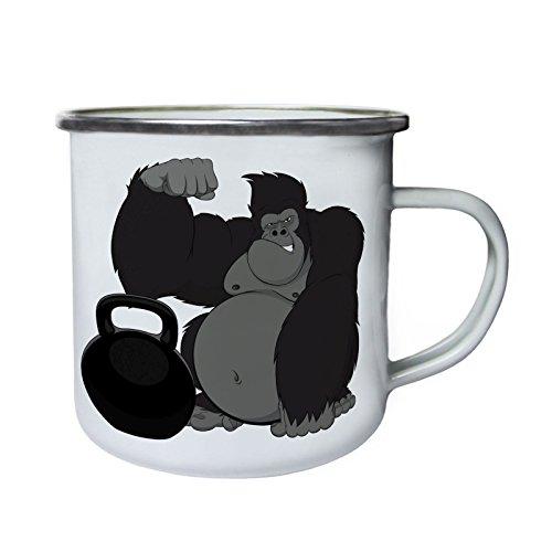 Gorilla Godzilla Schwergewichtsheber Retro, Zinn, Emaille 10oz/280ml Becher Tasse w531e