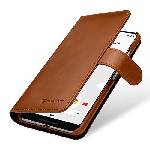 StilGut Brieftasche-Hülle für Google Pixel 3 XL aus echtem Leder, Cognac