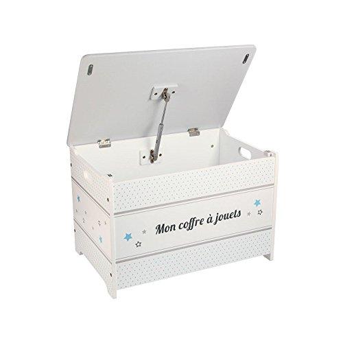 Baúl de juguetes de madera - Motivo Estrellas - Color GRIS y BLANCO
