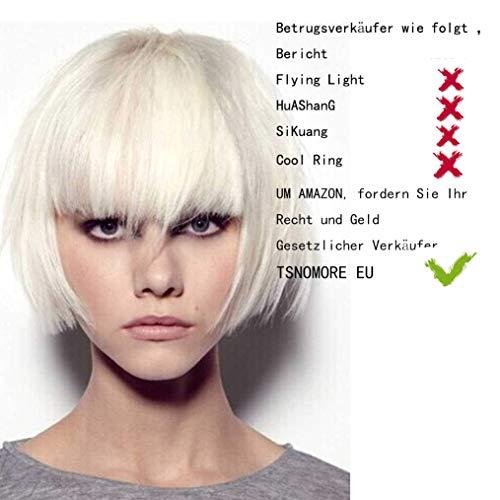 Tsnomore Trendy Dapper Kurz Glatt Weiß Blonde Frauen Bob Vollständige Bang Perücke (Perücke Blonde Kurze)