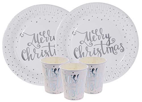 Vaisselle jetable de 48 pièces de Noël.Assiettes et Verres avec Le Texte Mery Christmas en Argent avec Petits Pois