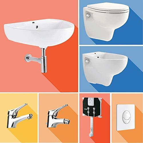 Pozzi Ginori Bagno Completo di Sanitari sospesi, lavabo 60, rubinetteria per Bidet e lavabo, sifoni, Cassetta di Scarico e Piastra