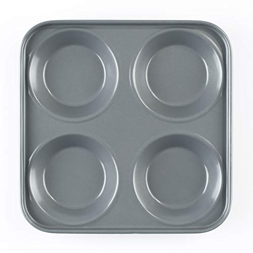 Prochef Teflon Non-Stick Premium Tray Tin-Length x Width 24cm-High Silicone Coating for Yorkshire Puddings-Silver, 24 x 24 x 2cm