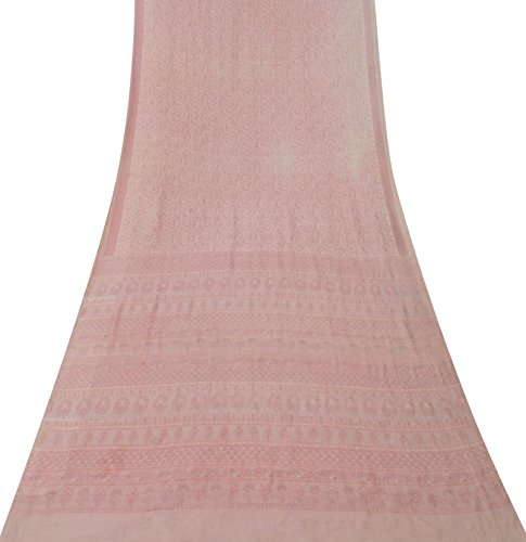 Indian Vintage-Sari reine Seide Rosa Saree Blatt gedruckt Ethnische Craft Fabric 5Yard (Rosa Seide Sari)