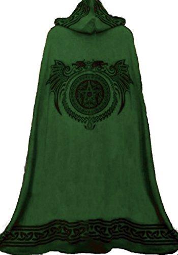 Dark Dreams Mittelalter Gothic Ritual Umhang Celtic Spirit, Farbe:schwarz/grün, Größe:Freesize