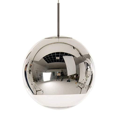 eative 1-Light Silber Chrome Mirror Ball Pendelleuchte Globe Hanging Light Kronleuchter Scheune Lager Restaurant Küche verstellbare Deckenleuchte E27 (Größe: Durchmesser 25 cm) ()