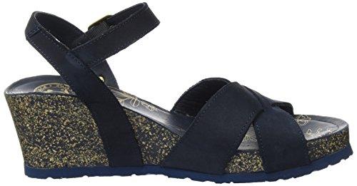 PANAMA JACK Damen Vika Basics Offene Sandalen mit Keilabsatz Blau (Navy)